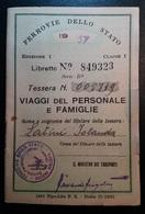 TESSERA FERROVIE DELLO STATO 1957 VIAGGI DEL PERSONALE E FAMIGLIE - Railway
