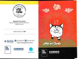 ARGENTINA 2019 CHINA COCHON NOUVEL AN PIG NEW YEAR ZODIAC,HOROSCOP UNUSUAL COATING PAMPHLET PROSPEKT - Chinees Nieuwjaar