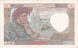 BILLET  50 FRANCS JACQUES COEUR Du 26-9-1940 * O16 90774 * état TTB+ * L2 - 50 F 1940-1942 ''Jacques Coeur''