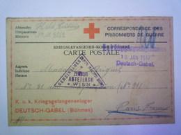 GP 2019  - 1321  DEUTSCH-GABEL (Böhmen)  1917  :  Kriegsgefangenen-Korrespondenz   XXX - Guerre 1914-18