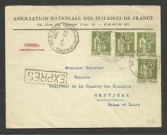 Affr. PAIX / Lettre Exprès / DIJON 04.07.1935 >>> MONTJEAN.......au Tarif - Marcophilie (Lettres)