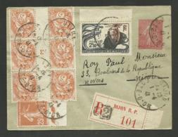 Entier + Blanc ( Millésime ) Semeuse & Lutte Cancer / Recommandé DIJON 01.04.1941 >>> NEVERS / Vignette Au Verso - Postmark Collection (Covers)