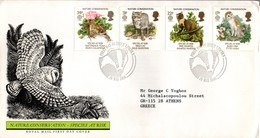Europa 1986 - Species At Risk - FDC Lincoln 1986 - Owl Chouette Cat Chat Toad Fog Grenouille Pine Marten Blaireau - FDC