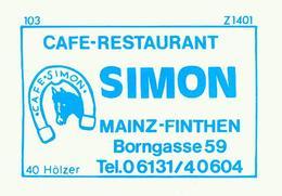 20 Alte Gasthausetiketten, Cafe-Restaurant Simon, Mainz-Finthen, Borngasse 59, #63 - Boites D'allumettes - Etiquettes