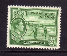 TURKS AND CAICOS 1938 1945 KING GEORGE VI RE GIORGIO RAKING SALT RACCOLTA DEL SALE 1/2p MNH - Turks E Caicos
