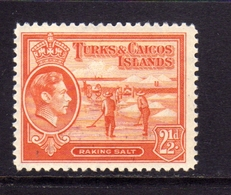 TURKS AND CAICOS 1938 1945 KING GEORGE VI RE GIORGIO RAKING SALT RACCOLTA DEL SALE 2 1/2p MNH - Turks E Caicos