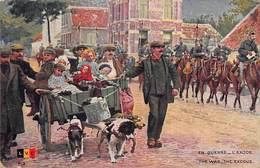 Illustration Militaria - Armée Belge - L'exode - Immigration Réfugiés - Attelage à Chiens - Chien Guerre 1914-18 - Belgium