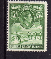 TURKS AND CAICOS 1938 1945 KING GEORGE VI RE GIORGIO SALT INDUSTRY INDUSTRIA DEL SALE 5sh MNH - Turks E Caicos