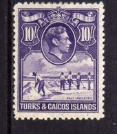 TURKS AND CAICOS 1938 1945 KING GEORGE VI RE GIORGIO SALT INDUSTRY INDUSTRIA DEL SALE 10sh MNH - Turks E Caicos