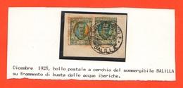 Sommergibile Balilla Sous Marin Annullo 2 X 25 Cents Bollo Postale 1928 Frammento Italian U Boat - Correo Militar (PM)