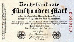 Billet Allemand De 500 Mark Le 7-juillet-1922-7 Chiffres Rouge En T T B Uniface - [ 3] 1918-1933 : República De Weimar