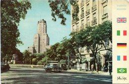 BUENOS AIRES - AVENIDA SANTA FE Y RASCACIELOS KAVANAGH, ARGENTINA POSTAL CPA CIRCA 1960's NON CIRCULEE- LILHU - Argentina