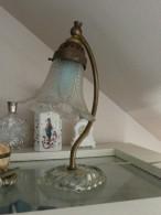 VINTAGE 1940 - Lampe Tulipe En Cristal Et Bronze - Luminaires