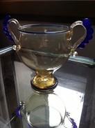 MURANO - Beau Vase Verre Soufflé Main Anses Bleu à L'or - Années 50 - Verre & Cristal