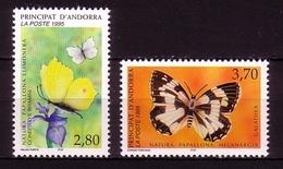 ANDORRA FRANZÖSISCH MI-NR. 483-484 ** NATURSCHUTZ 1995 - SCHMETTERLINGE ZITRONENFALTER SCHACHBRETTFALTER - BUTTERFLIES - Butterflies