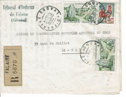 1967 - Enveloppe-lettre Recommandée Du Tribunal D'Instance De Falaise - Tp N° 1440 + 1331A - Marcophilie (Lettres)
