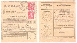 CARENTOIR Morbihan Mandat Carte Formule 1408 Taxe Factage 1F Paix 50c Rouge Yv 283x2 Dest Chennegy Aube Ob 1940 - Lettres & Documents
