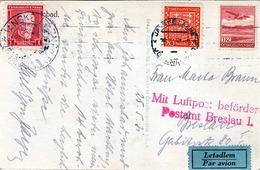 R! Tschechoslowakei 1931 - Seltene 3 Fach Frankierung Mit Luftpost Postamt Breslau Auf Ak Lanske Lazne, Heim Anne Marie - Briefe U. Dokumente