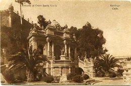 SANTIAGO - ENTRADA AL CERRO SANTA LUCIA. CHILE POSTALE CPA CIRCULEE 1918 - LILHU - Chili