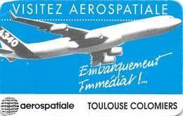 PIE-EM -19-5623 : CARTE  VISITEZ AEROSPATIALE TOULOUSE COLOMIERS. - Aviation Commerciale