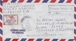 "1970 AIRMAIL CIRCULEE HONDURAS TO BUENOS AIRES RECOMMANDE TIMBRE MARQUE ROUGE ""OFFICIAL"" - BLEUP - Honduras"