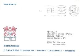 """Motiv Brief  """"Pedrazzini, Tipografia/Offset/Legatoria/Edizioni, Locarno""""           1968 - Svizzera"""