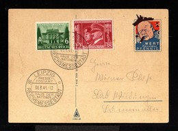 11732-GERMAN EMPIRE-.MILITARY PROPAGANDA FELDPOSTCARD Leipzig.1941.WWII.Wert Keinen.DEUTSCHES REICH.Postkarte - Covers & Documents