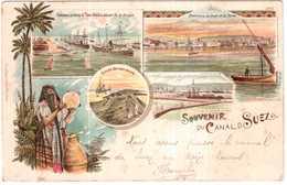 CPA.EGYPTE..SOUVENIR DU CANAL DE SUEZ - Suez