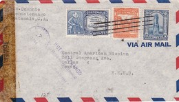 1944 AIRMAIL CIRCULEE GUATEMALA TO USA, OPENED BY CENSOR BANDELETA PARLANTE - BLEUP - Guatemala