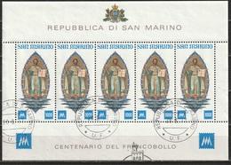 # San Marino 1977 - Anniversario Primo Francobollo - Foglietto Timbrato - Blocchi & Foglietti