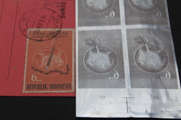 KPI-398- Indonesia 1963. X3 Document+Asian African Journalist Conference. 6r. Block 4. Piece Of Printing Plate! Rare!!! - Indonesia