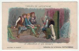 """Carte Publicitaire Avec Fables De Lafontaine """"le Laboureur Et Ses Enfants"""" (texte Au Dos) - Vieux Papiers"""