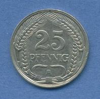 Deutsches Reich 25 Pfennig 1912 A, Kursmünze Nickel J 18, Ss (m2004) - [ 2] 1871-1918 : German Empire