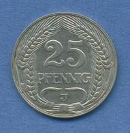 Deutsches Reich 25 Pfennig 1910 J, Kursmünze Nickel J 18, Ss (m2008) - [ 2] 1871-1918 : German Empire