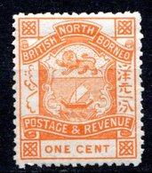 BORNEO DU NORD - (Compagnie) - 1886-89 - N° 19 - 1 C. Orange - (Armoiries) - Nordborneo (...-1963)