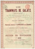 Ancien Titre - Les Tramways De Galatz (Roumanie) Sté Anonyme  Belge -  Titre De 1900 - Chemin De Fer & Tramway