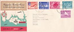 1955 SINGAPORE SOUVENIR COVER AIRMAIL  BY  BOAC CIRCULEE SINGAPORE TO LONDON - BLEUP - Gran Bretaña (antiguas Colonias Y Protectorados)