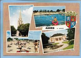 Arès (33) L'église Nouvelle La Plage Et Les Jeux Hôtel De Ville (canoë Ou Kayak) Blason 2 Scans - Arès