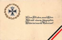 UNSER DENKEN, UNSER LEBEN..PATERLAND~WW1 GILT EMBOSSED IRON CROSS 1914 POSTCARD  40800 - Weltkrieg 1914-18