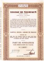 Ancien Titre - Tissage De Maldegem - Société Anonyme - Titre De1950 - N° 0615 - Industrie