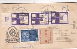 FDC 1972 URUGUAY CIRCULEE A PARAGUAY RECOMMANDEE TIMBRES UNIES AVEC LACRE - BLEUP - Uruguay