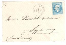 LE BOURGET Oise Lettre 20 C Empire Non Lauré Yv 22  Ob Gros Chiffres GC 575 Boîte Rurale B - 1849-1876: Periodo Clásico