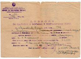 1952 YUGOSLAVIA, SERBIA, BELGRADE, SLOVENIA, MOJSTRANA, PERMIT TO STAY IN BORDER ZONE, EXTENSIONS AT THE BACK - Historical Documents