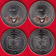 "Panama Set Of 2 Coins: Cuarto (1/4) Balboa 2017-2018 ""Justo Arosemena"" UNC - Panama"