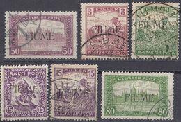 FIUME - 1919 - Lotto Di 6 Valori Usati: Yvert 5, 6, 9, 14 E 16 Come Da Immagine. - 8. WW I Occupation