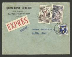 NIEVRE / Quincaillerie CHARRON à LA CHARITE 20.06.1957 / Lettre Exprès >>> BEFFES - Postmark Collection (Covers)