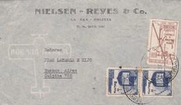 NIELSEN REYES & CO - 1941 AIRMAIL CIRCULEE BOLIVIA TO ARGENTINE STAMP A PAIR BANDELETA PARLANTE - BLEUP - Bolivia