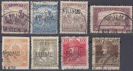 FIUME - 1919 - Lotto Di 8 Valori Usati: Yvert 9, 11, 12, 14 E 24/27, Come Da Immagine. - 8. Occupazione 1a Guerra