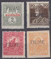 FIUME - 1919 - Lotto Di 4 Valori Nuovi MNH: Yvert 1, 25, 27 E 28, Come Da Immagine. - 8. WW I Occupation