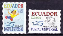 ECUADOR 1999 UNIVERSAL POSTAL UNION 125TH ANNIVERSARY ECUADORIAN POSTAL SERVICE MASCOT & EMBLEM MNH SC# 1497 1499 - Equateur